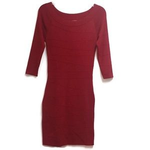 Max Studio Red Ribbed Dress